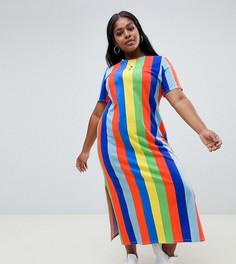 Платье-футболка макси в разноцветную полоску ASOS DESIGN Curve - Мульти
