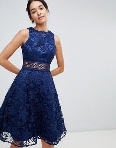 Темно-синее короткое приталенное платье из кружева Chi Chi London - Темно-синий