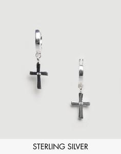 Серебряные серьги-кольца с подвесками-крестами ASOS DESIGN - Серебряный
