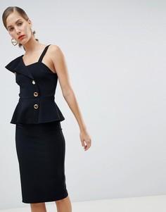 Черное облегающее платье с баской и пуговицами River Island - Черный