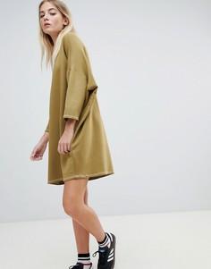 Платье-футболка в стиле oversize с контрастной строчкой Pull&bear - Зеленый Pull&;Bear