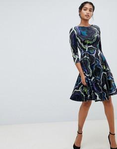 Платье А-силуэта с принтом и рукавами 3/4 Closet London - Мульти