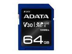 Карта памяти 64Gb - A-Data - Premier Pro Secure Digital XC V30S Class 10 UHS-I U3 ASDX64GUI3V30S-R