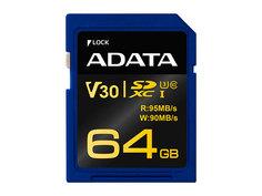 Карта памяти 64Gb - A-Data - Premier Pro Secure Digital XC V30G Class 10 UHS-I U3 ASDX64GUI3V30G-R