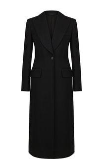 Однотонное шерстяное пальто на одной пуговице Tom Ford