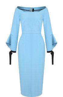 Приталенное платье-миди с расклешенными рукавами Roland Mouret