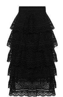 Кружевная юбка-миди из хлопка с оборками Zimmermann