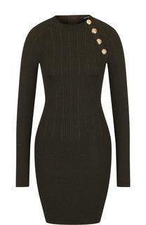 Шерстяное мини-платье с контрастными пуговицами Balmain