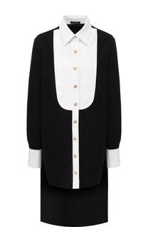Удлиненная хлопковая блуза с контрастной отделкой Balmain