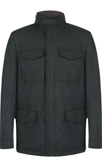 Двусторонняя кашемировая куртка на молнии с воротником-стойкой Loro Piana