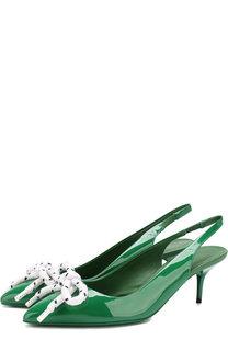 Лаковые туфли на каблуке kitten heel Burberry
