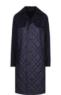 Стеганое шерстяное пальто с карманами Yohji Yamamoto