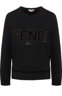 Хлопковый пуловер с круглым вырезом и логотипом бренда Fendi