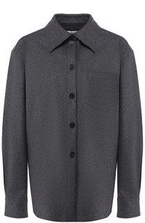 Однотонная блуза из смеси шерсти и кашемира с накладным карманом Acne Studios