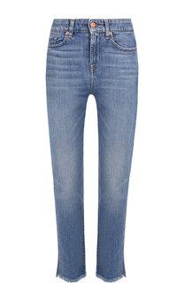 Укороченные джинсы с потертостями и бахромой 7 For All Mankind