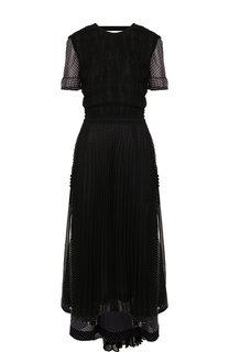 Приталенное платье-миди со складками и принтом Loewe