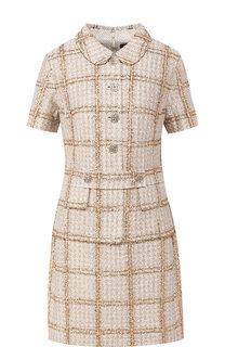 Вязаное мини-платье с декоративными пуговицами St. John