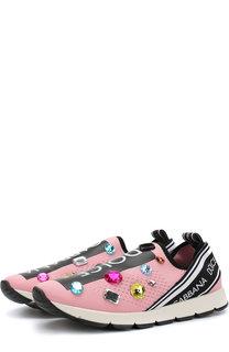 Текстильные кроссовки без шнуровки с декором Dolce & Gabbana