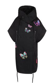 Двубортное хлопковое пальто с декоративной отделкой и коротким рукавом Valentino