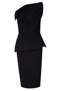 Черное платье с объемной отделкой Roland Mouret