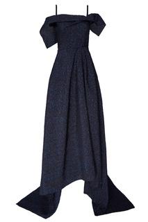 Блестящее синее платье-макси Roland Mouret