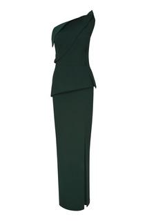 Зеленое платье с асимметричной драпировкой Roland Mouret