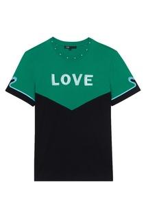 Хлопковая футболка с вышивкой и заклепками Maje
