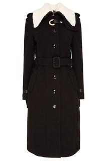 Черное пальто с вязаным воротником Altuzarra