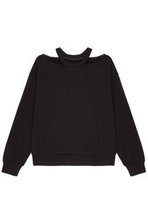 Черный свитшот с вырезами Mo&;Co