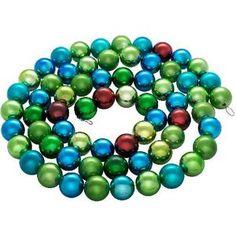 Snowmen цепь блест. пластик шары 4см 62шт. многоцв. 2, 5м в пакете (ЕК0181)
