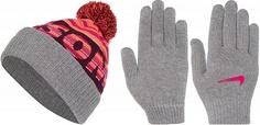 Комплект для девочек: шапка и перчатки Nike, размер Без размера