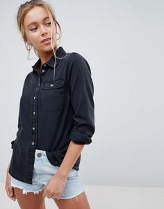 Черная джинсовая рубашка с карманом ASOS DESIGN - Черный