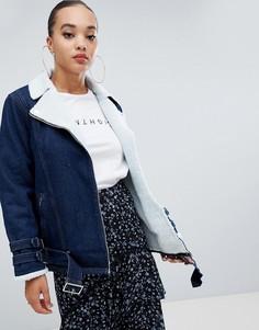 Джинсовая куртка с подкладкой из искусственного меха Missguided - Синий