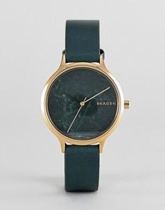 Часы с зеленым кожаным ремешком Skagen SKW2720 Anita - Зеленый