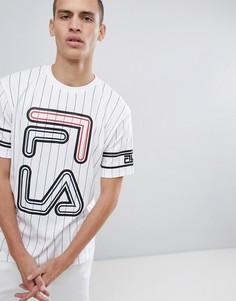 Белая футболка в полоску с большим логотипом Fila Black - Белый