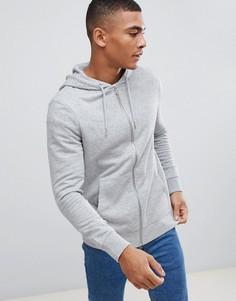 Серое меланжевое худи на молнии New Look - Серый