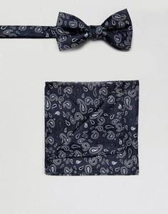 Темно-синий галстук-бабочка и платок для нагрудного кармана с принтом пейсли Selected Homme - Темно-синий