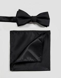 Черный галстук-бабочка и платок для нагрудного кармана Selected Homme - Черный
