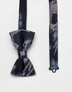 Темно-синий жаккардовый галстук-бабочка с цветочным рисунком Moss London - Синий