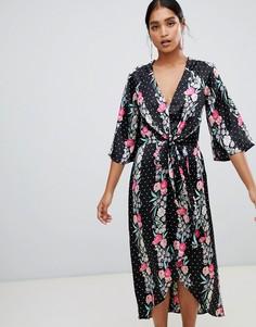 Платье макси с запахом и принтом Liquorish - Черный