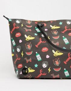 Спортивная сумка с принтом Mi-Pac x Tatty Devine - Черный