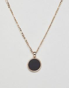 Золотистое ожерелье с подвеской под оникс Chained & Able - Золотой