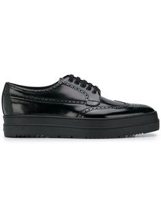 туфли на шнуровке на платформе Prada