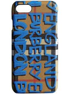 чехол iPhone 8 в винтажную клетку с принтом граффити Burberry