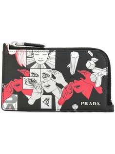 кошелек с рисунком и застежкой на молнию Prada