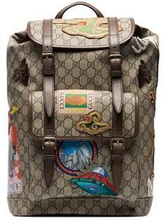 рюкзак с узором GG и заплатками Gucci