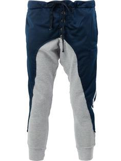 двухцветные брюки-джоггеры Greg Lauren