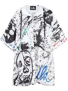 пальто-пончо с принтом краски Haculla