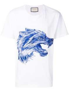 6fcdc0a6223a футболка с принтом волка Gucci
