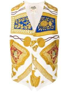жилетка с принтом 'Poste et Cavalerie' Hermès Vintage